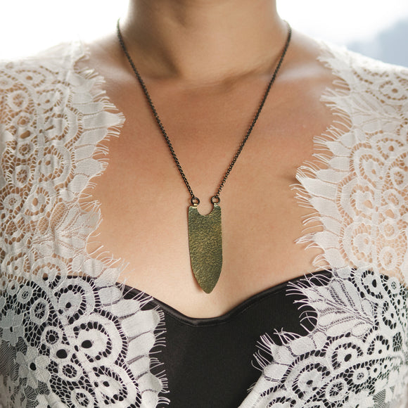 Banner Necklace in Antiqued Brass