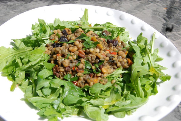 Lentils & Israeli Couscous with pine nuts