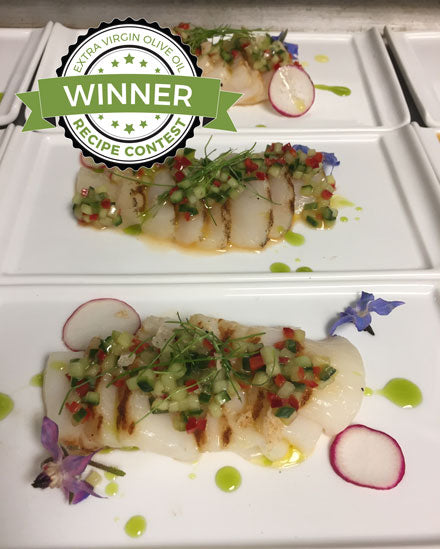 Scallop Crudo with Cucmber Meyer Lemon Salsa and Chive Oil