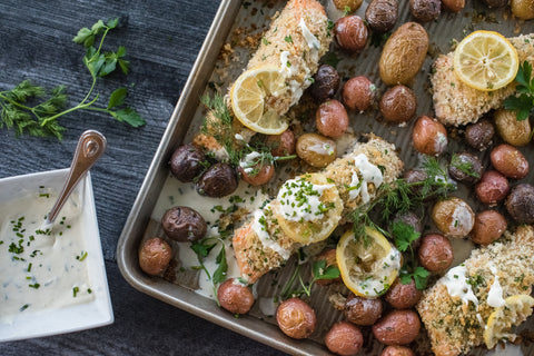 Sheet Pan Panko Herb Crusted Salmon with Roasted Baby Potatoes and Lemon-Chive Creme Fraiche