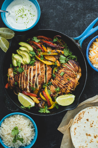 Honey Adobo Chicken Fajitas with Lime Crema and Cilantro Lime Rice