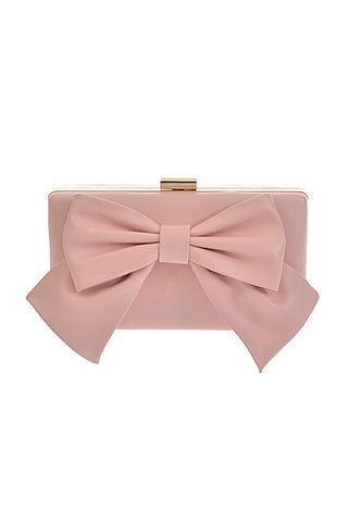 Nude evening clutch with big bow