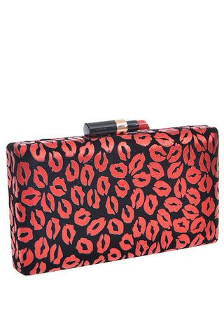 Red Lipstick evening clutch bag in red and black