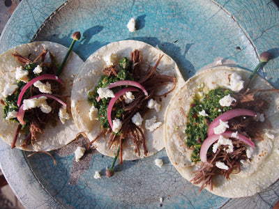 Braised Beef Shank Tacos With Herb and Caper Salsa
