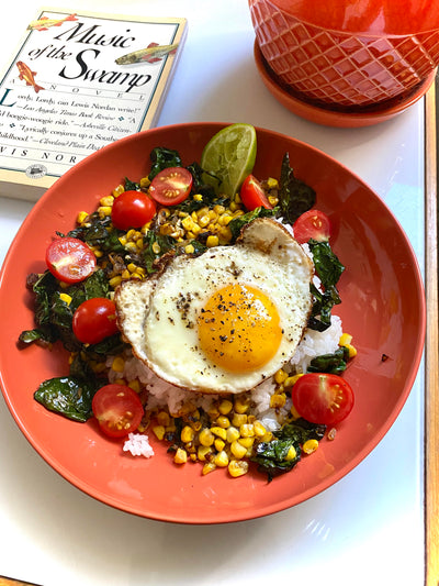 Corn, Kale, and Cherry Tomato Rice Bowl