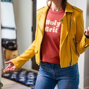 Holy Grit T-shirt on model with yellow jacket