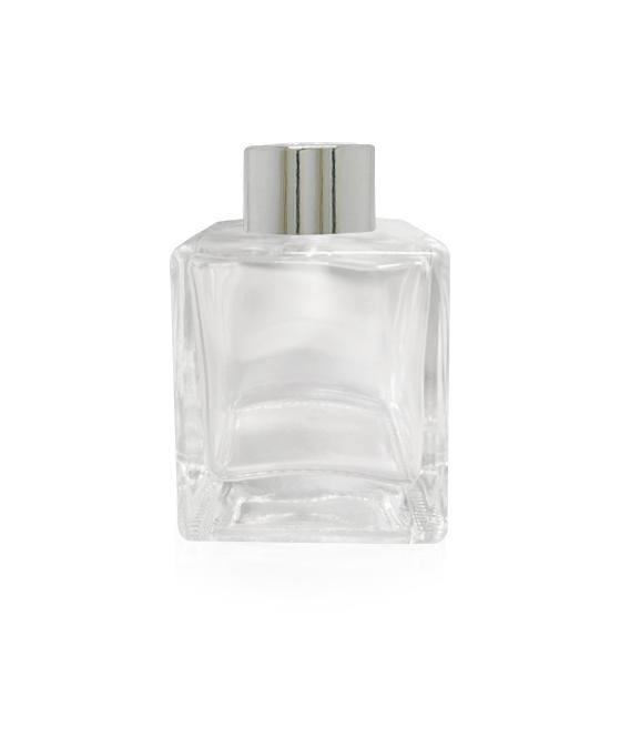 100ml Square Diffuser Bottle - Silver Collar