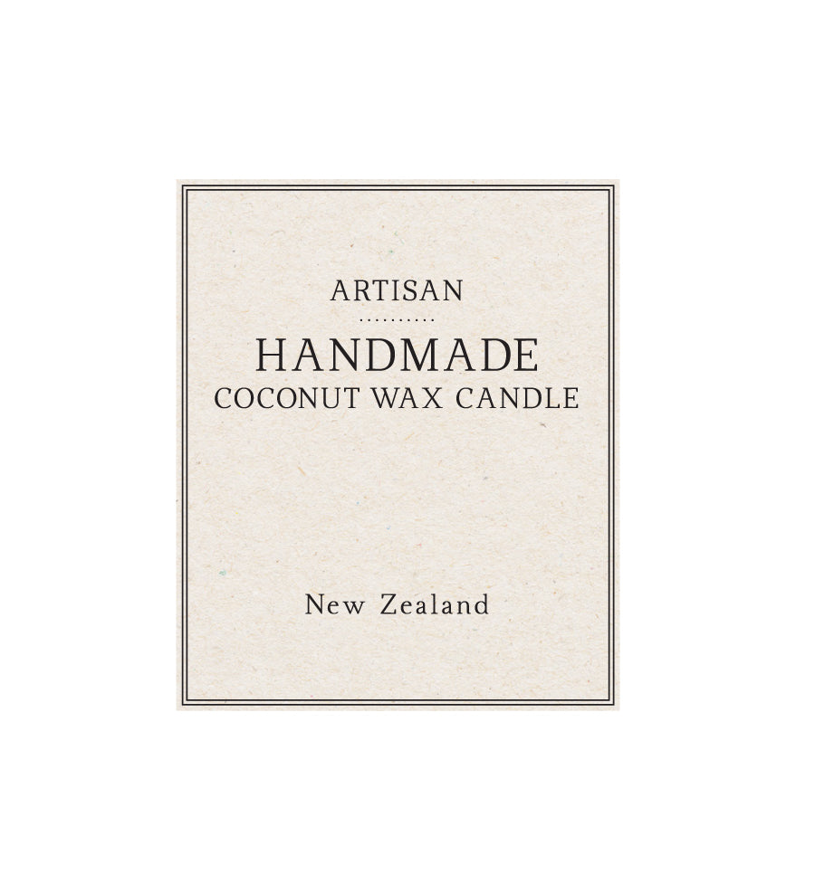 Artisan Handmade Coconut Wax Candle Label - Natural Background 5 x 6cm