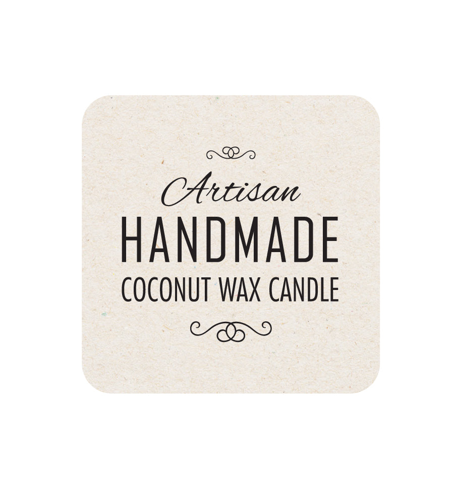 Artisan Handmade Coconut Wax Candle Label - Natural Background 5 x 5cm