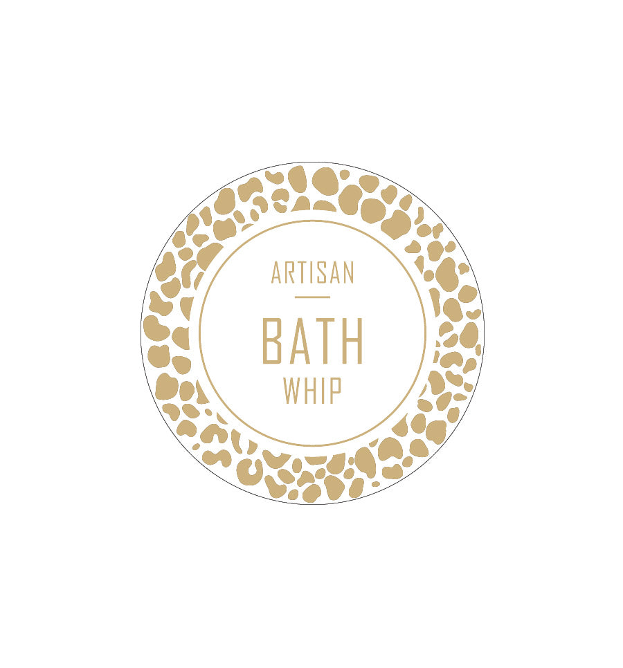 Artisan Bath Whip Label 4.2cm Dia - Transparent with Gold Foiling