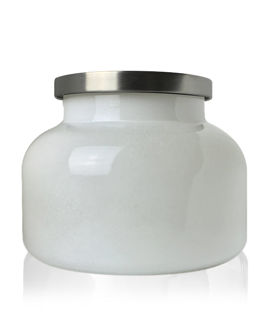 Beaute -  White Jar with Brushed Silver Metal Lid 650mls