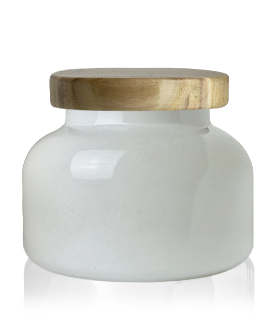 Beaute -  White Jar with Natural Wooden Lid Lid 650mls
