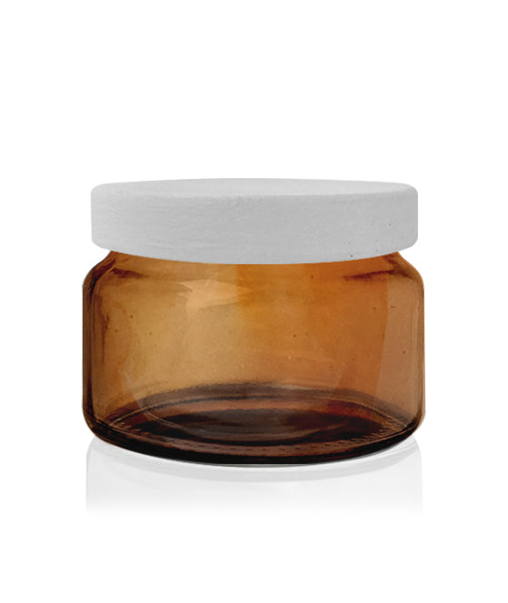 Little Beaute - Amber Jar with White Wooden Lid 270 -300mls
