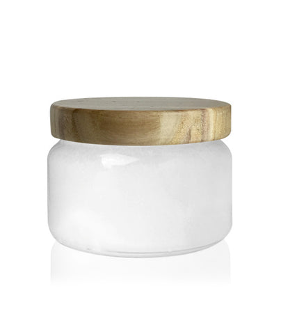 Beaute -  White Jar with White Wooden Lid Lid 650mls