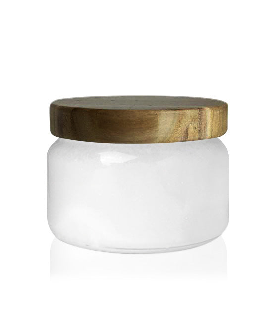 Little Beaute -  Soft White Jar with Burnt Wooden Lid 270 -300MLS