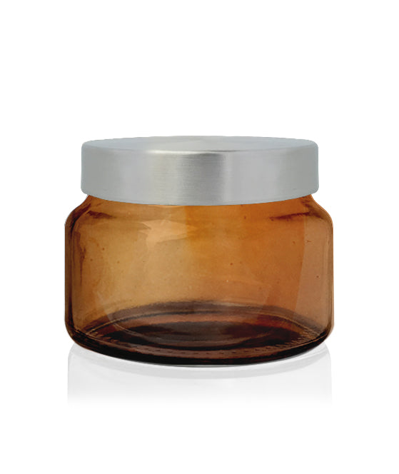 Little Beaute - Amber Jar with Brushed Silver Lid 270 -300mls