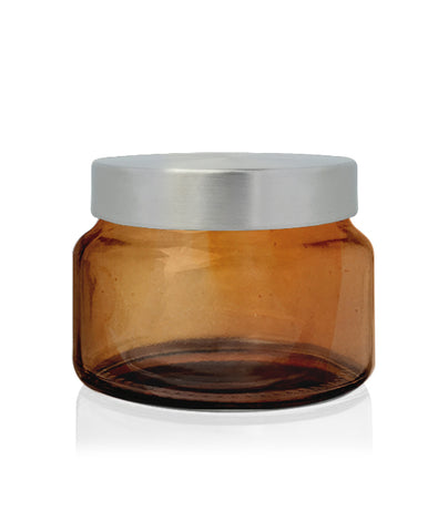 Beaute -  White Jar with Burnt Wooden Lid Lid 650mls