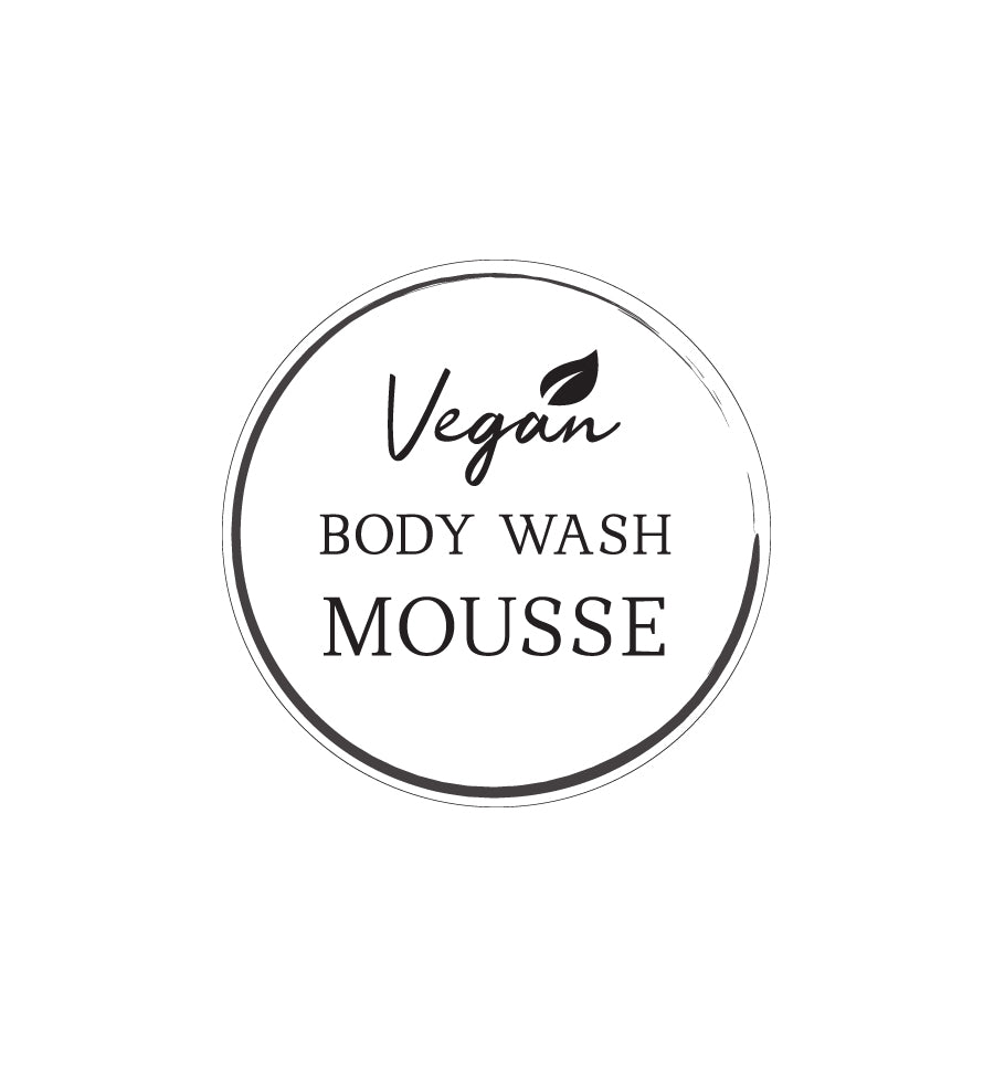 Vegan Body Wash Mousse Label 4.2cm Dia - Transparent