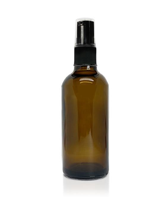 100ml Amber Glass Bottle with Plastic Pump and Cap