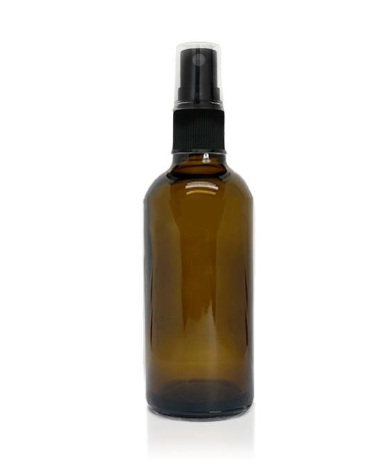 100ml Amber Glass Bottle with Plastic Sprayer and Cap