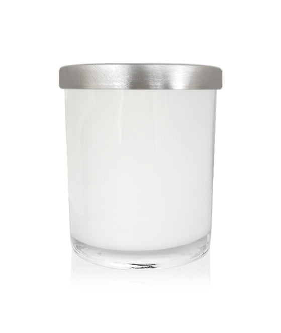 Small Classic Tumbler - White Jar with Silver Metal Lid 145mls