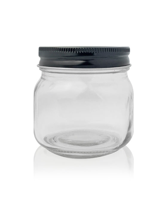 Cube Jar - Clear Glass with Black Metal Lid 180mls