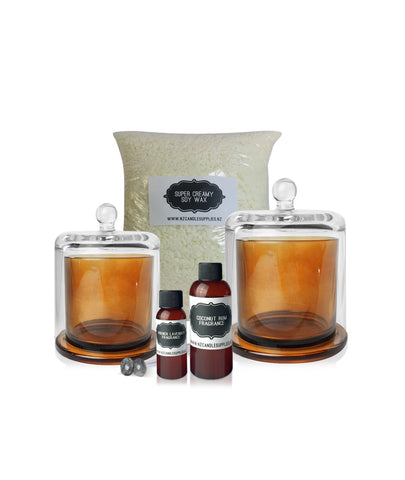 Cube Jar Soy Candle Making Kit (Black Lid)