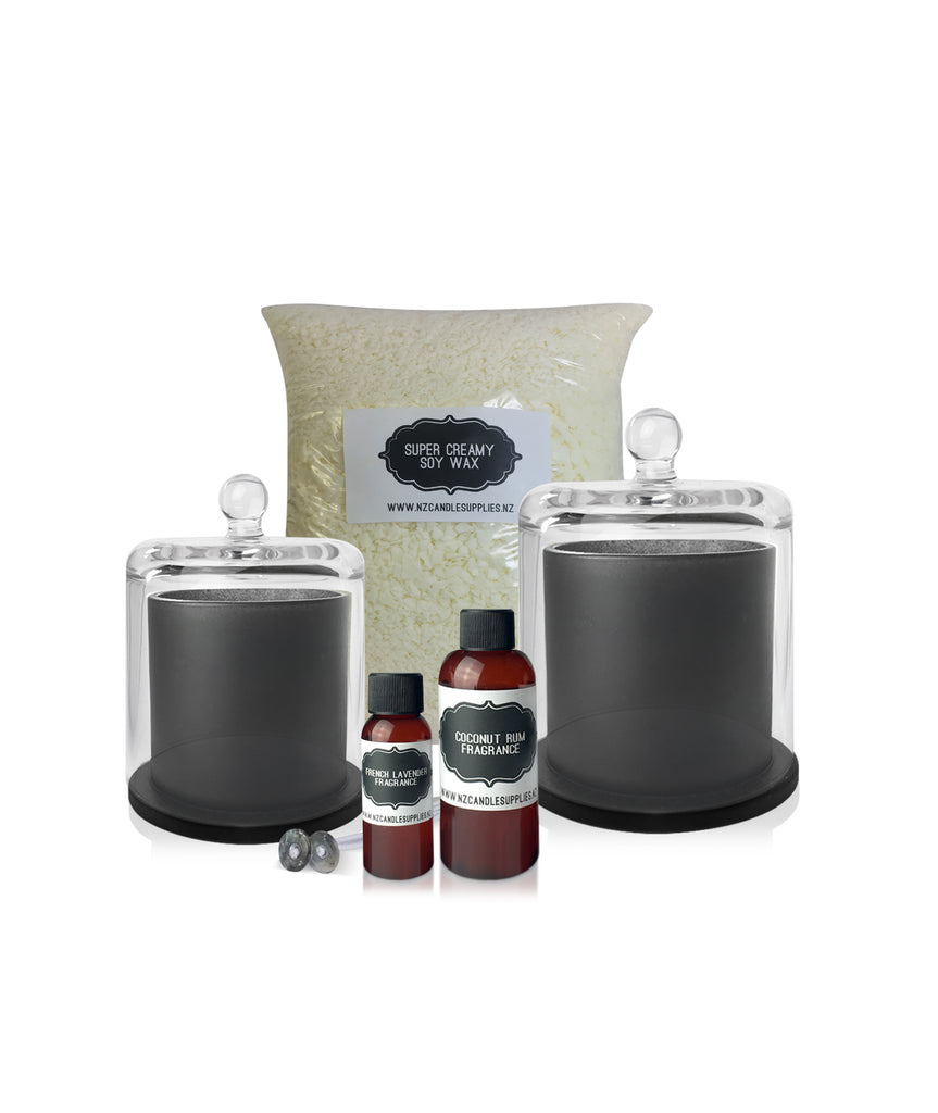 Matte Black Cloche Jar Soy Candle Making Kit