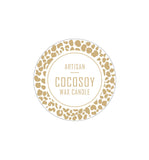 Artisan Cocosoy Wax Candle Label 4.2cm Dia - Transparent with Gold Foiling