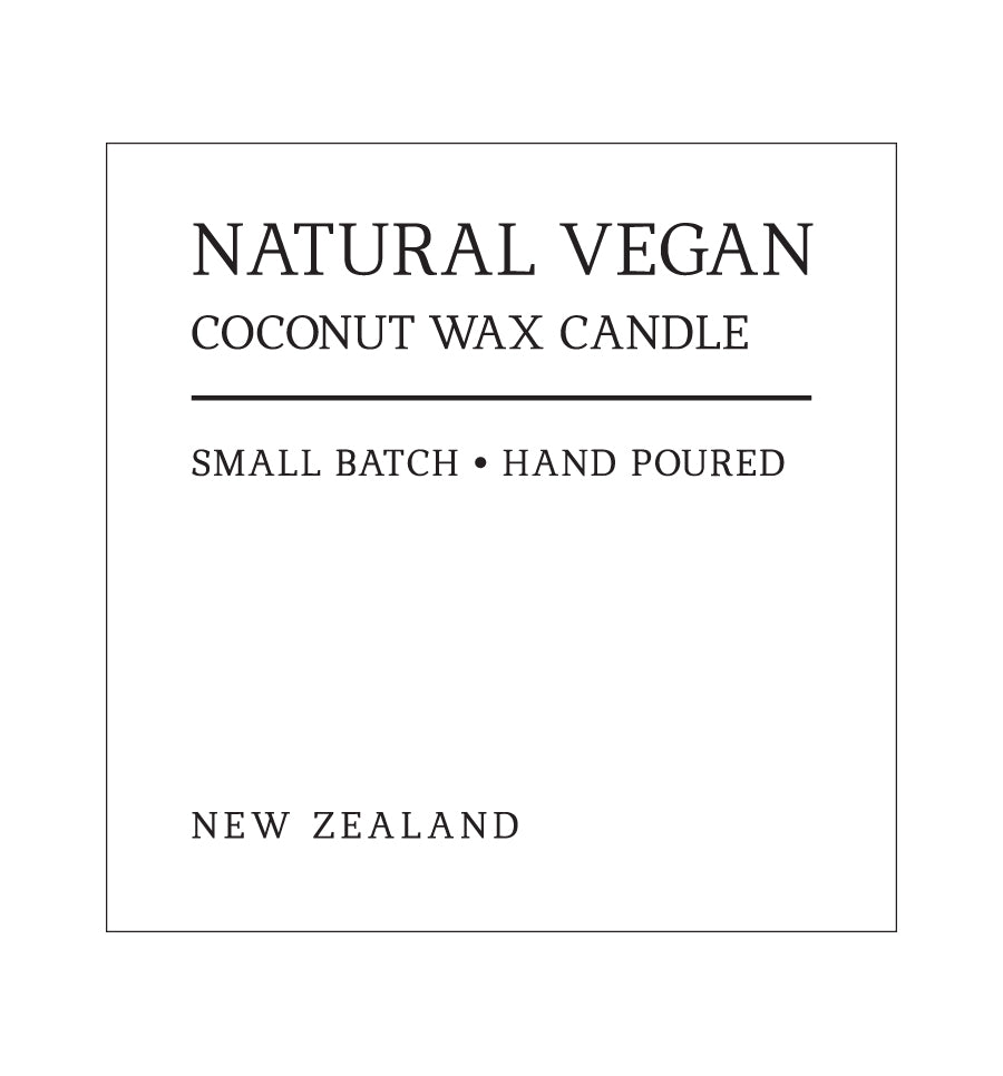Natural Vegan Coconut Wax Candle Label - 6 x 6cm