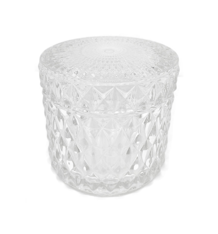 Diamond Vintage Cut Glass Candle Jar with Lid - 200mls