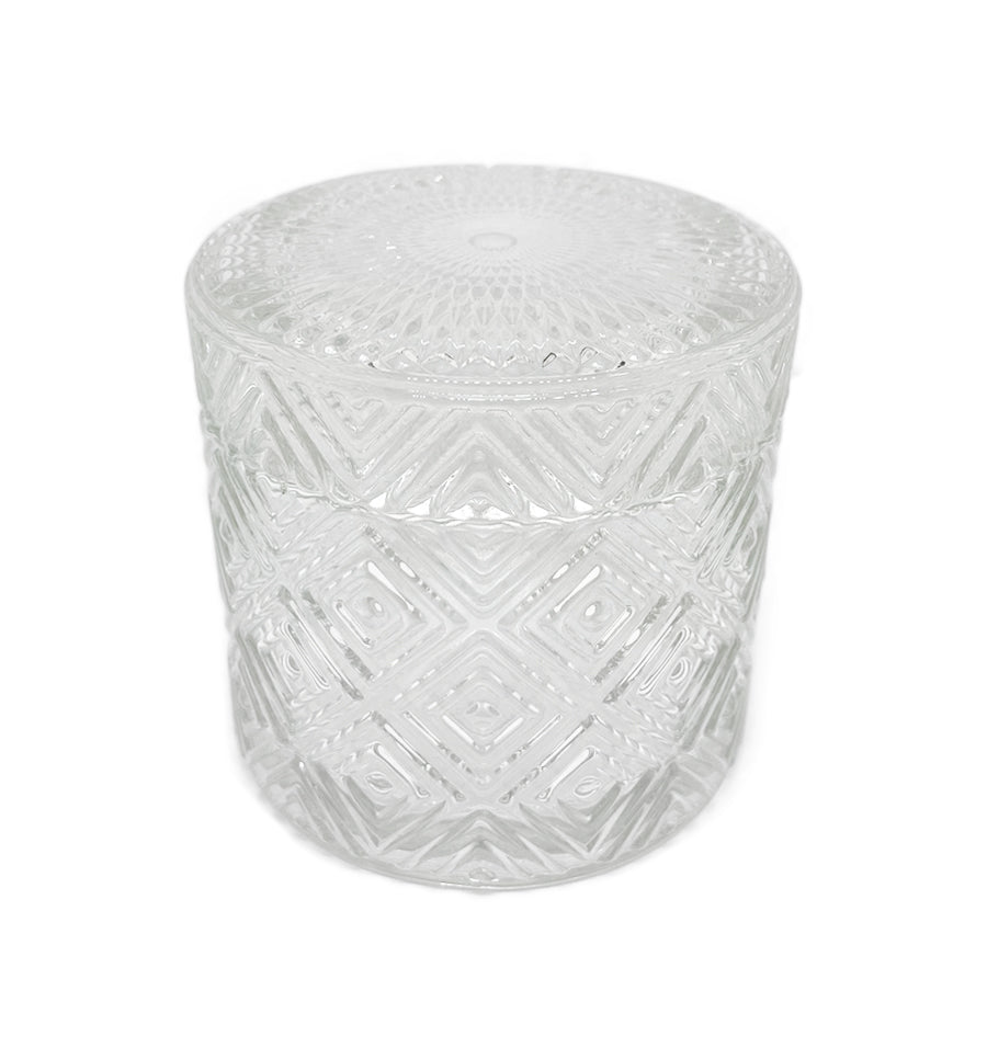Geo Vintage Cut Glass Candle Jar with Lid - 200mls