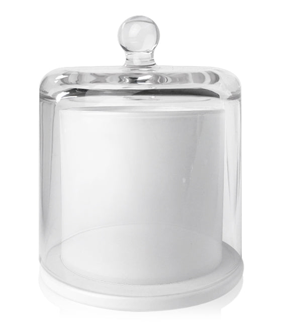 Cloche Jar - White Jar with Clear Glass Dome 550 -600mls