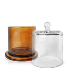 Cloche Jar - Amber Jar with Clear Glass Dome 250 -275mls