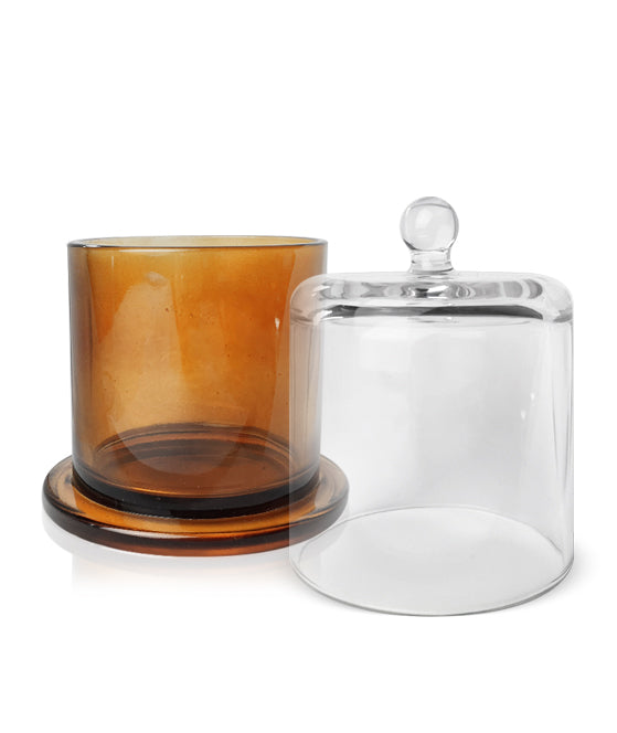 Cloche Jar - Amber Jar with Clear Glass Dome 550 -600mls