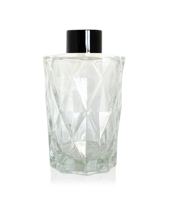200ml Diamond Cut Diffuser Bottle - Black Collar