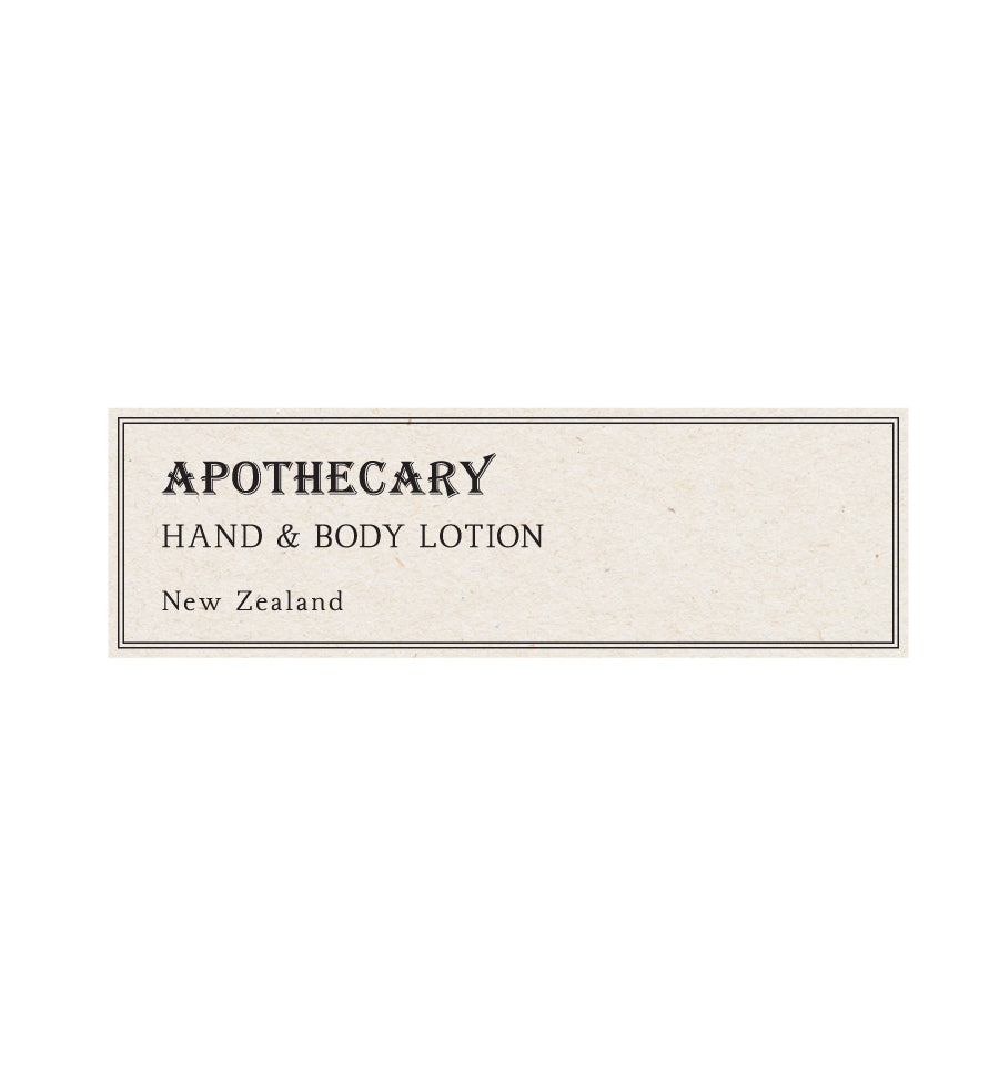 Apothecary Hand & Body Lotion Label - Natural Background 8 x 2.5cm