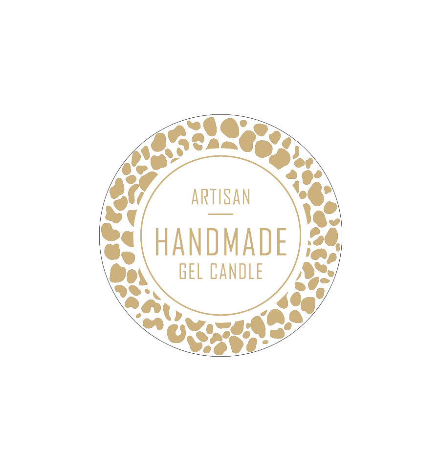 Artisan Handmade Gel Candle Label 4.2cm Dia - Transparent with Gold Foiling
