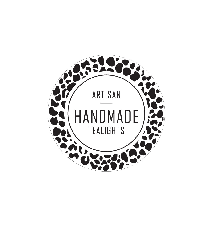 Artisan Handmade Tealights Label 4.2cm Dia - Transparent