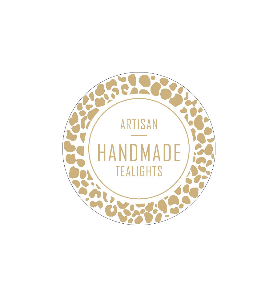 Artisan Handmade Tealights Label 4.2cm Dia - Transparent with Gold Shiny Foil