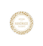 Artisan Handmade Tealights Label 4.2cm Dia - Transparent with Gold Foiling