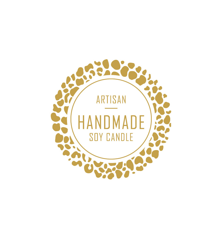 Artisan Handmade Soy Candle Label 4.2cm Dia - Transparent with Gold Shiny Foil