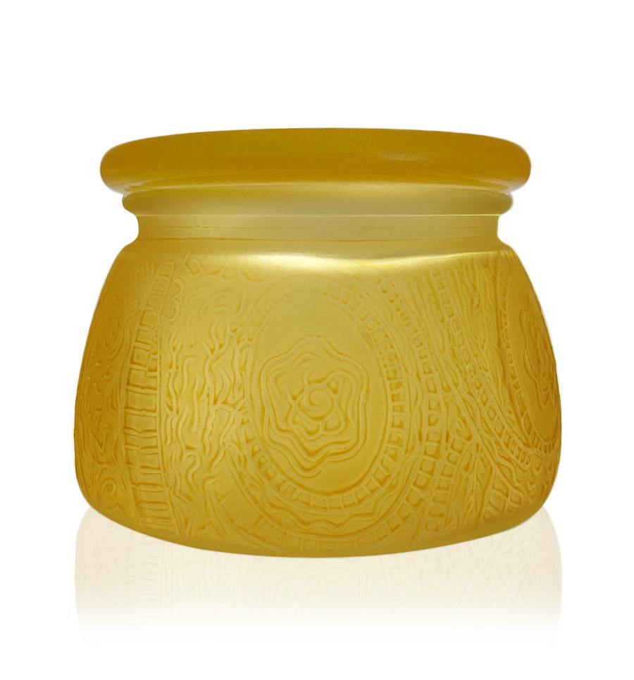 Matte Gold Multiflora Cut Glass Candle Jar with Lid - 350mls