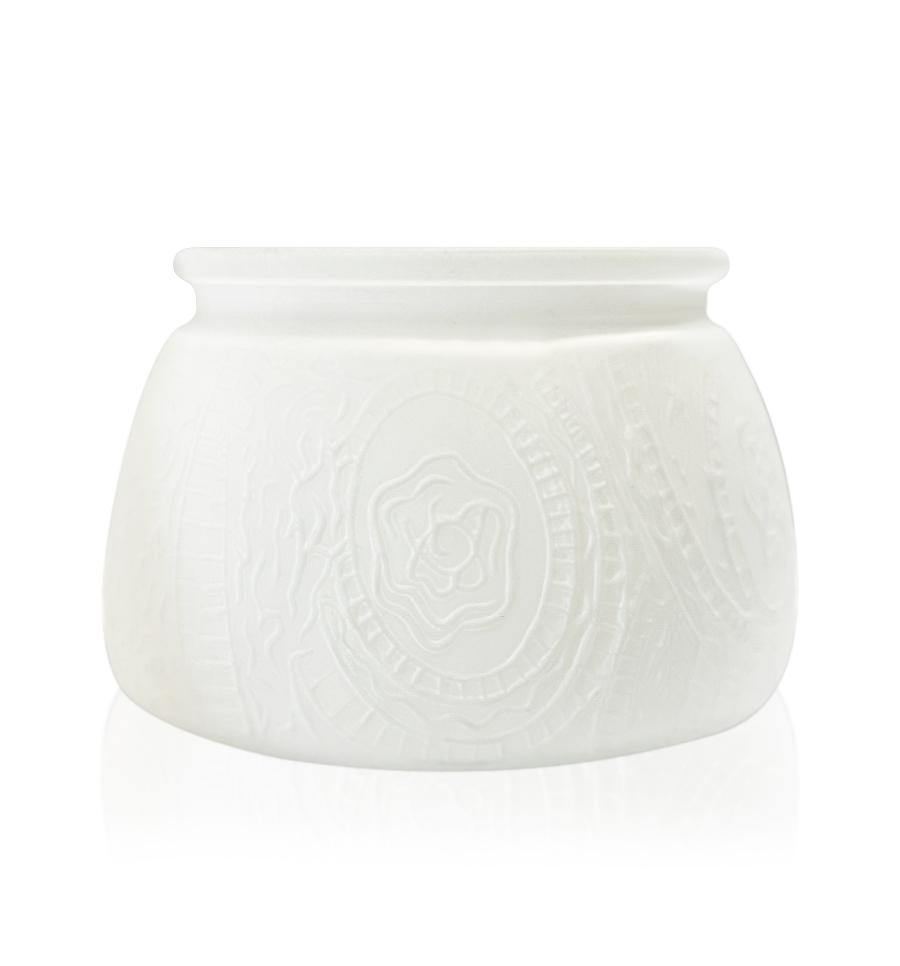 Matte White Multiflora Cut Glass Candle Jar with Lid - 350mls