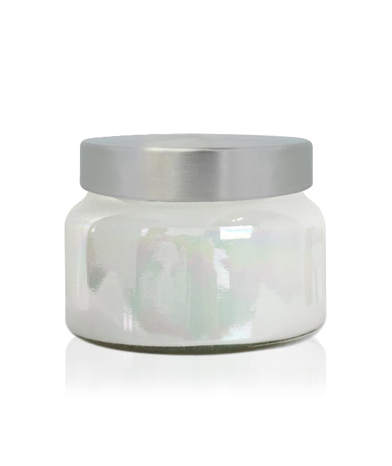 Little Beaute - White Lustre Jar with Brushed Silver Lid 270 -300mls