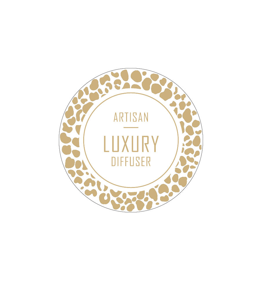 Artisan Luxury Diffuser Label 4.2cm Dia - Transparent with Gold Foiling