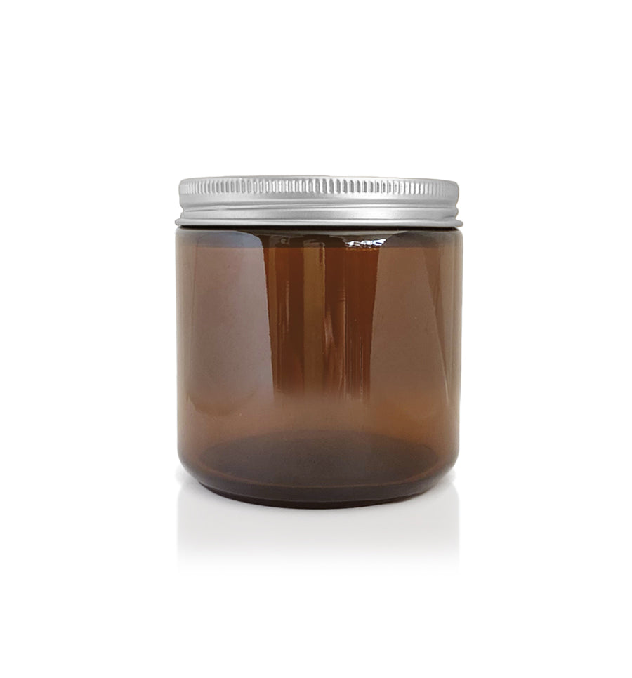 Amber Pharmacist Glass Jar with Silver Lid 100ml