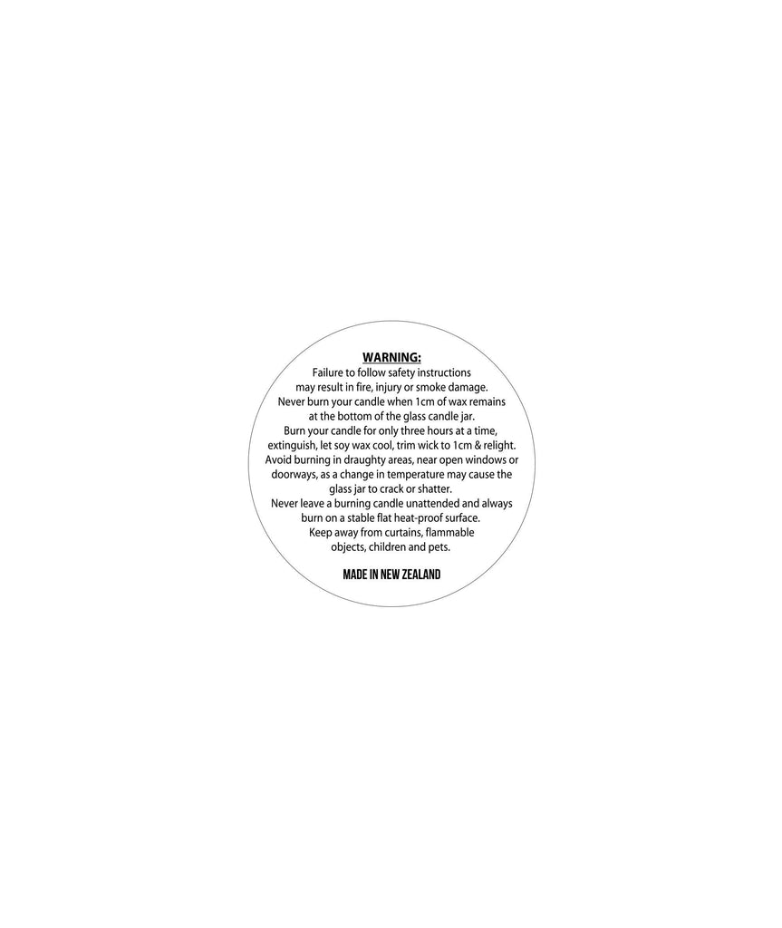 Unlaminated Sheet Candle Warning Label 3.2cm Dia