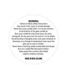 Unlaminated Sheet Candle Warning Label 6.5cm Dia