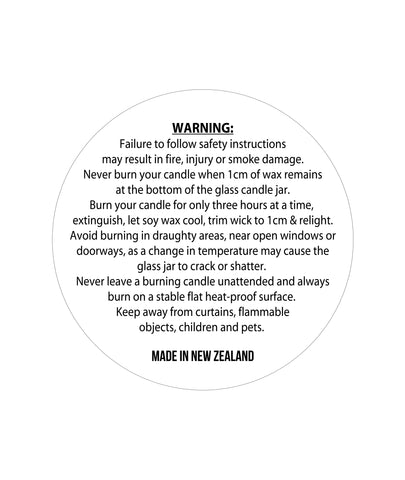 Candle Warning Label 3.2cm Dia